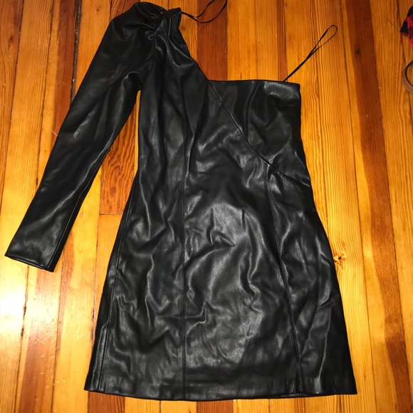 Zara Dresses & Skirts - One Sleeve Faux Leather Midi Dress